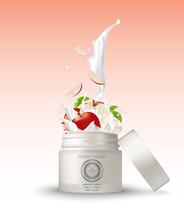 Καλλυντικό πλαστικό βάζο με το ράντισμα κρέμας μήλων άσπρος απεικόνιση αποθεμάτων