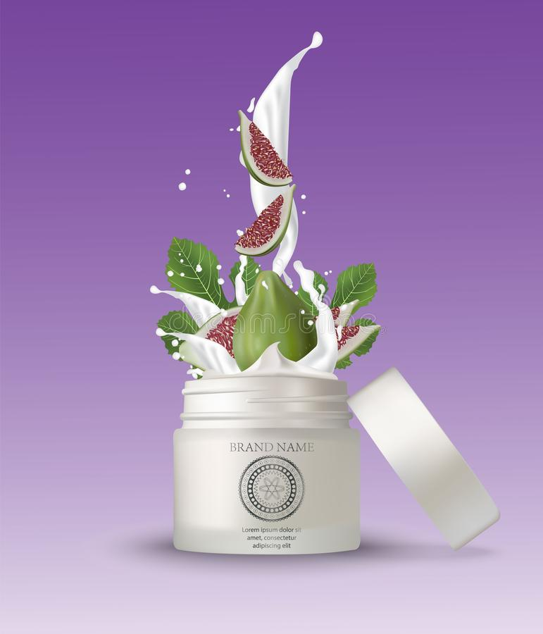 Καλλυντικό πλαστικό βάζο με το ράντισμα κρέμας σύκων Απομονωμένο άσπρο β διανυσματική απεικόνιση
