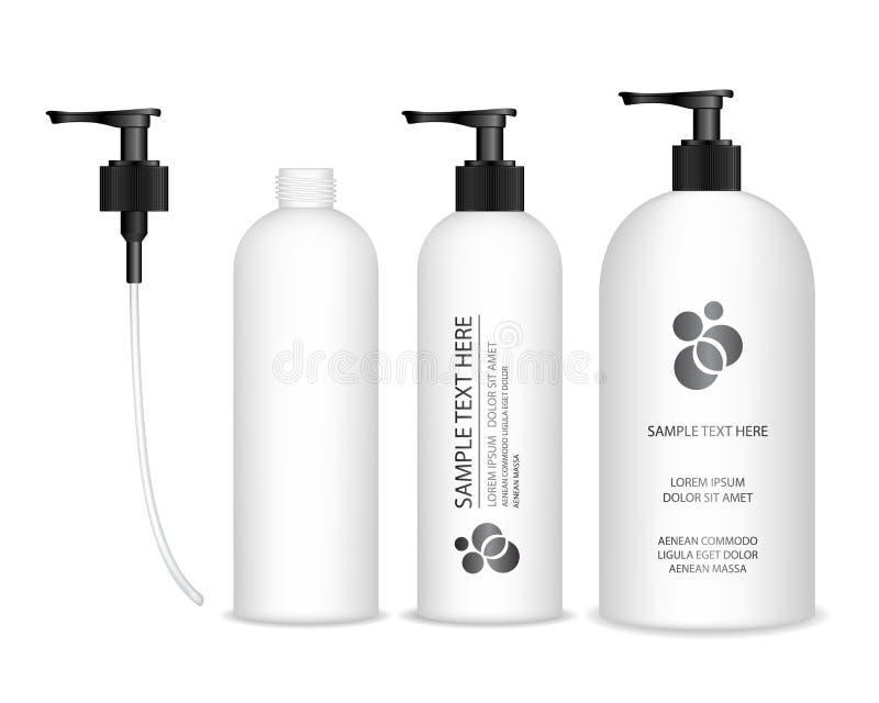 Καλλυντικό πλαστικό μπουκάλι με τη μαύρη αντλία διανομέων Υγρό εμπορευματοκιβώτιο για το πήκτωμα, λοσιόν, κρέμα, σαμπουάν, αφρός  απεικόνιση αποθεμάτων