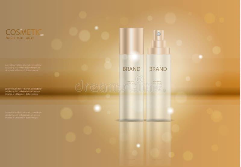 Καλλυντικό πρότυπο αγγελιών ψεκασμού τρίχας, καλλυντική αφίσα προϊόντων, σχέδιο συσκευασίας μπουκαλιών με το moisturizer γ απεικόνιση αποθεμάτων