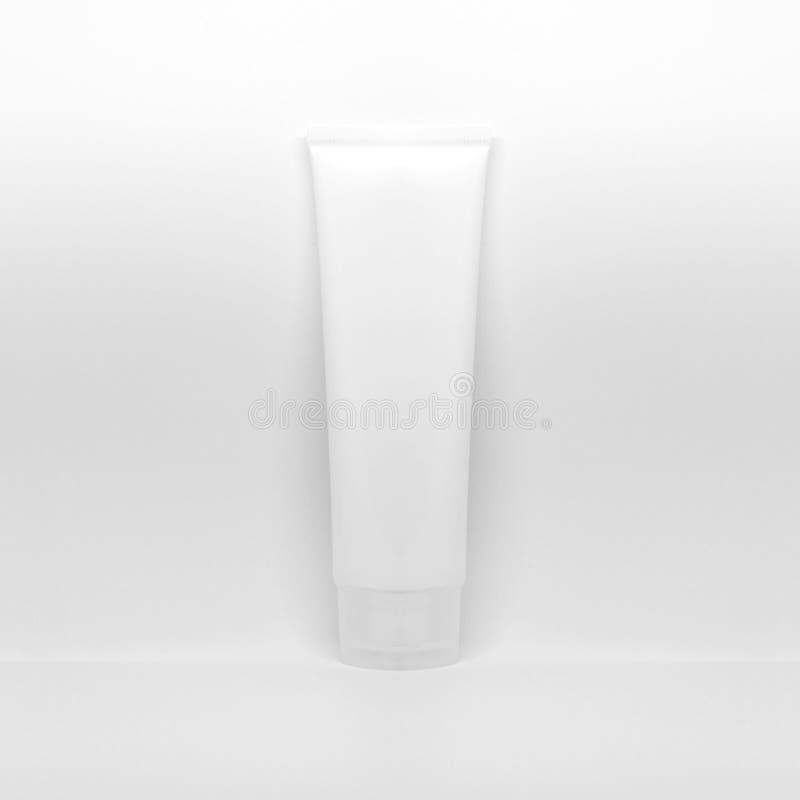 Καλλυντικό σχέδιο συσκευασίας Άσπρος σωλήνας κρέμας Πρότυπο καλλυντικών για το μαρκάρισμα Προϊόν ομορφιάς makeup E στοκ φωτογραφίες