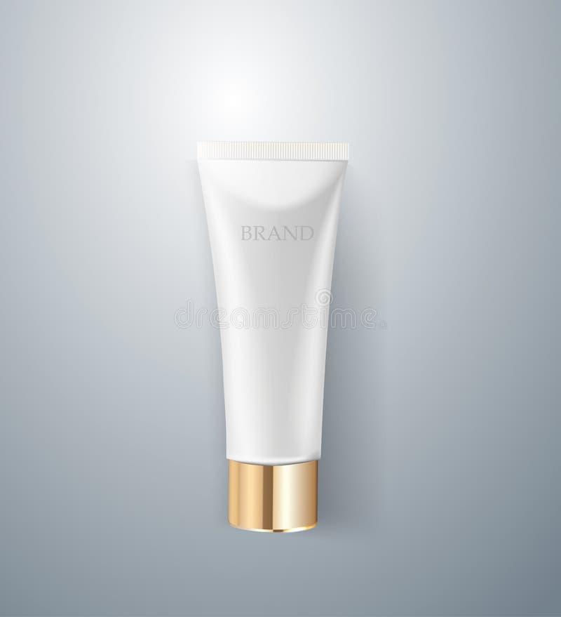 Καλλυντικό σχέδιο συσκευασίας λευκό σωλήνων κρέμας τρισδιάστατη ρεαλιστική διανυσματική απεικόνιση Πρότυπο καλλυντικών για το μαρ ελεύθερη απεικόνιση δικαιώματος