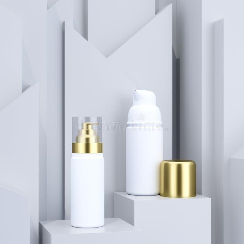 Καλλυντικό σύνολο συσκευασίας Άσπρα μπουκάλια με τα χρυσά καλύμματα Αφηρημένο γκρίζο υπόβαθρο με την εξέδρα Πρότυπο συσκευασίας π διανυσματική απεικόνιση