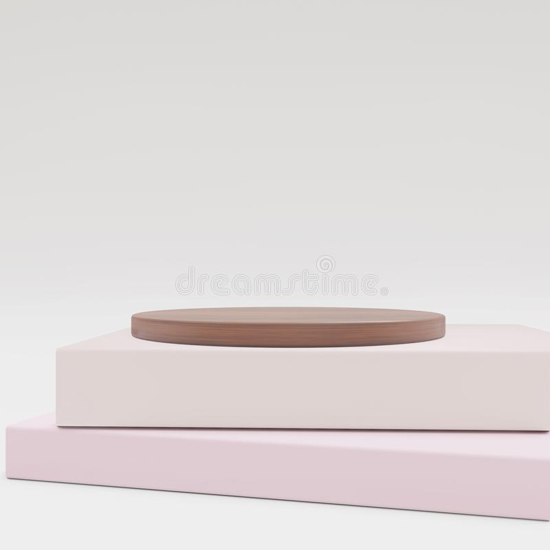 Καλλυντικό υπόβαθρο για την παρουσίαση προϊόντων ξύλο και βιβλίο για την απεικόνιση περιοδικών μόδας διανυσματική απεικόνιση