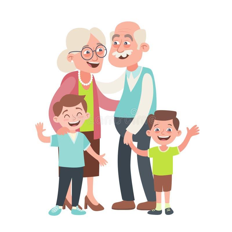 Καλοί παππούδες και γιαγιάδες με τους εγγονούς τους διανυσματική απεικόνιση