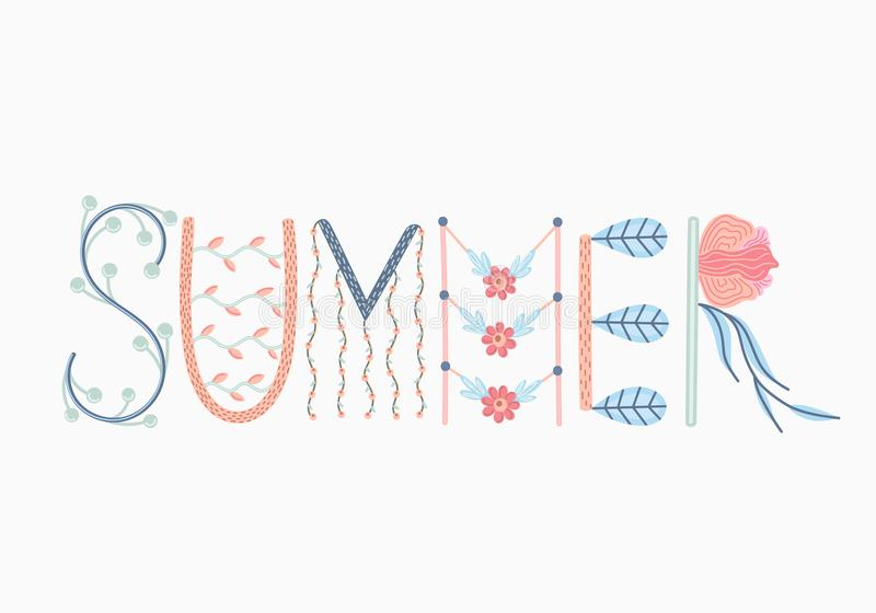 Καλοκαίρι Δημιουργική συρμένη χέρι εγγραφή με τις floral διακοσμήσεις Καλοκαίρι doodle Εποχή του υπολοίπου και του ταξιδιού ελεύθερη απεικόνιση δικαιώματος