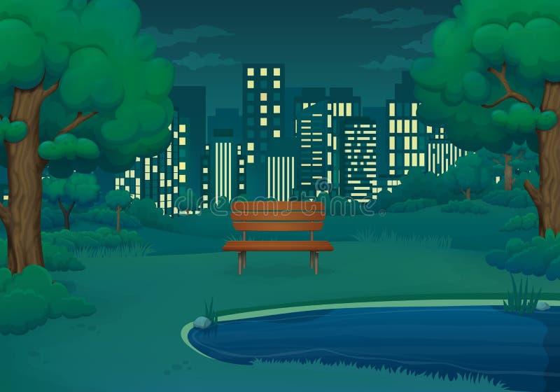 Καλοκαίρι, διανυσματική απεικόνιση νύχτας άνοιξης Ξύλινος πάγκος από τη λίμνη με τους πολύβλαστους πράσινους Μπους και τα δέντρα  ελεύθερη απεικόνιση δικαιώματος