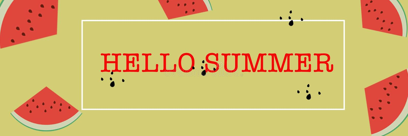 Καλοκαίρι εμβλημάτων γειά σου με για το webpage ή την κινητή σελίδα στοκ φωτογραφίες με δικαίωμα ελεύθερης χρήσης