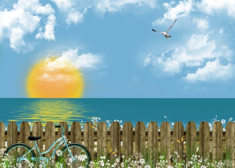 καλοκαίρι ηρεμίας θάλασσας διανυσματική απεικόνιση