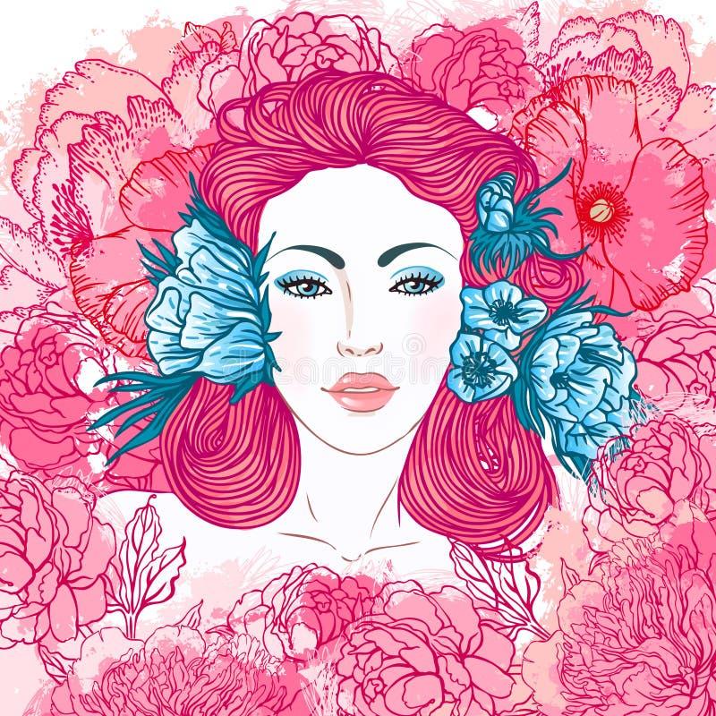 καλοκαίρι κοριτσιών προσώπου ομορφιάς διανυσματική απεικόνιση