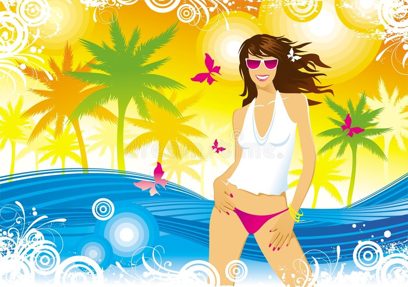 καλοκαίρι κοριτσιών ελεύθερη απεικόνιση δικαιώματος