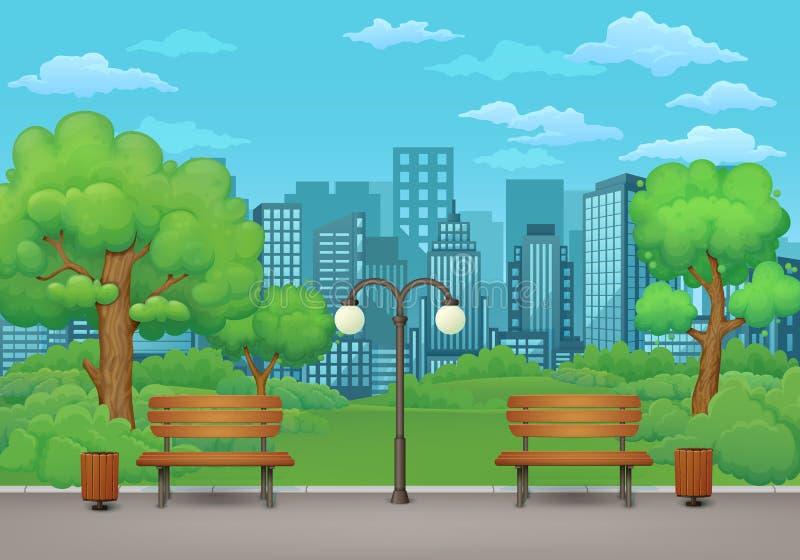 καλοκαίρι πάρκων τοπίων ημέρας Οι πάγκοι, τα δοχεία απορριμμάτων και ο λαμπτήρας οδών σε ένα πάρκο σύρουν με την πράσινη βλάστηση ελεύθερη απεικόνιση δικαιώματος
