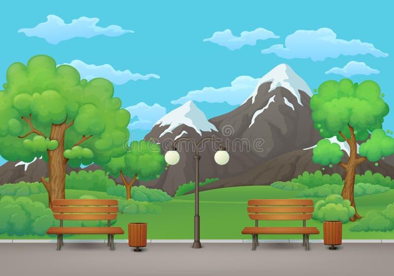 καλοκαίρι πάρκων τοπίων ημέρας Πάγκοι, δοχεία απορριμμάτων και λαμπτήρας οδών επάνω διανυσματική απεικόνιση