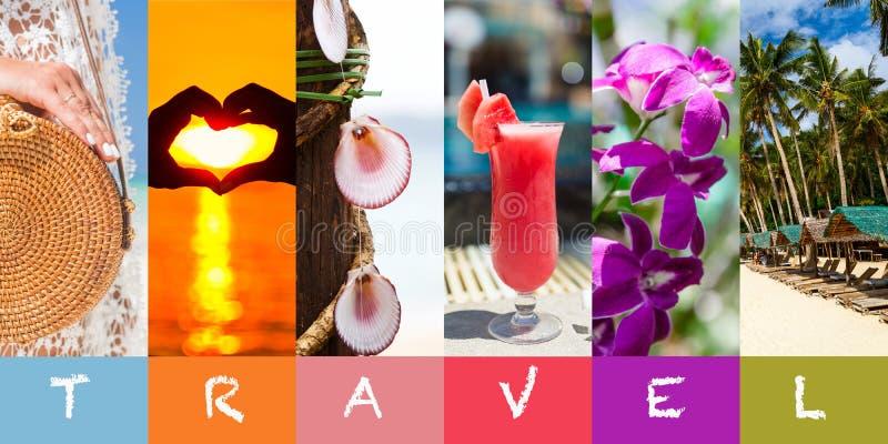 Καλοκαίρι παραλιών κολάζ στο αφηρημένο ύφος Πρότυπο, διάστημα για το κείμενο Όμορφη παραλία Τροπικό υπόβαθρο, φύση και ταξίδι δια στοκ φωτογραφίες με δικαίωμα ελεύθερης χρήσης