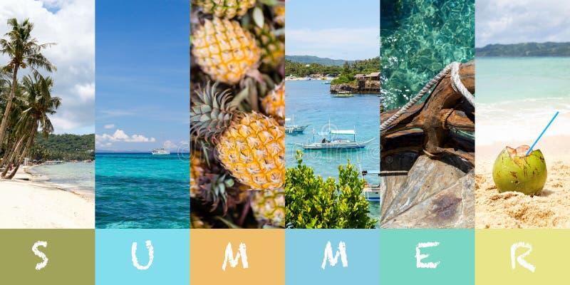 Καλοκαίρι παραλιών κολάζ στο αφηρημένο ύφος Πρότυπο, διάστημα για το κείμενο Όμορφη παραλία Τροπικό υπόβαθρο διακοπών με τροπικό  στοκ φωτογραφία με δικαίωμα ελεύθερης χρήσης