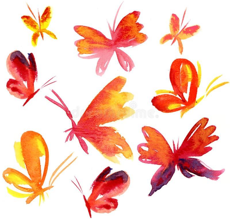 καλοκαίρι πεταλούδων watercolour διανυσματική απεικόνιση