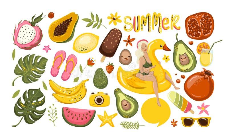 Καλοκαίρι που τίθεται με συρμένα τα χέρι στοιχεία ταξιδιού Παγωτό, καρπούζι, φύλλα, ρόδι, σανδάλια, αβοκάντο, μπανάνα απεικόνιση αποθεμάτων