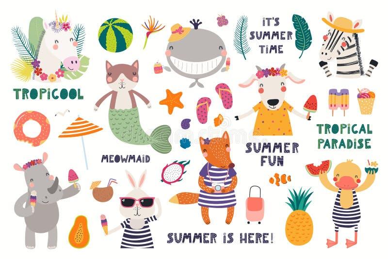 Καλοκαίρι που τίθεται με τα χαριτωμένα ζώα διανυσματική απεικόνιση