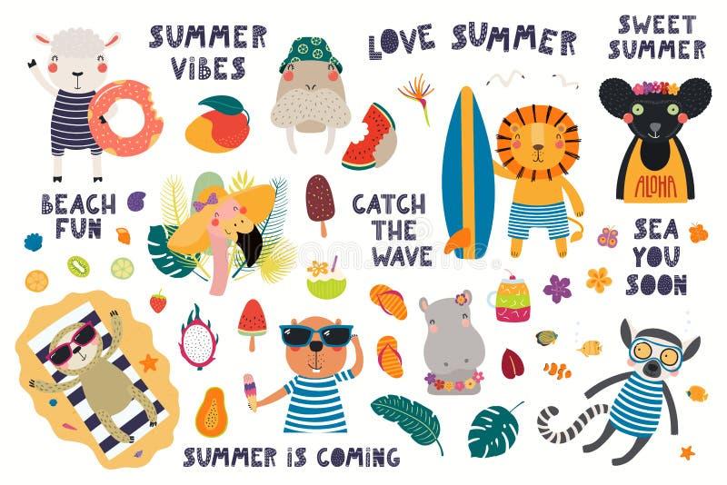 Καλοκαίρι που τίθεται με τα χαριτωμένα ζώα ελεύθερη απεικόνιση δικαιώματος