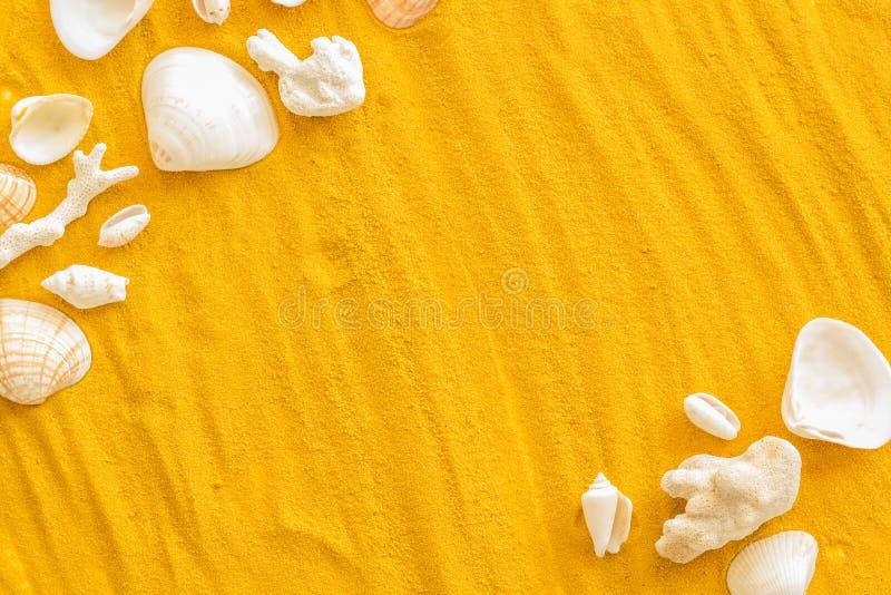 Καλοκαίρι στο σχέδιο θάλασσας για το blog με το πλαίσιο κοχυλιών στο κίτρινο άμμου διάστημα αντιγράφων άποψης υποβάθρου τοπ στοκ φωτογραφίες