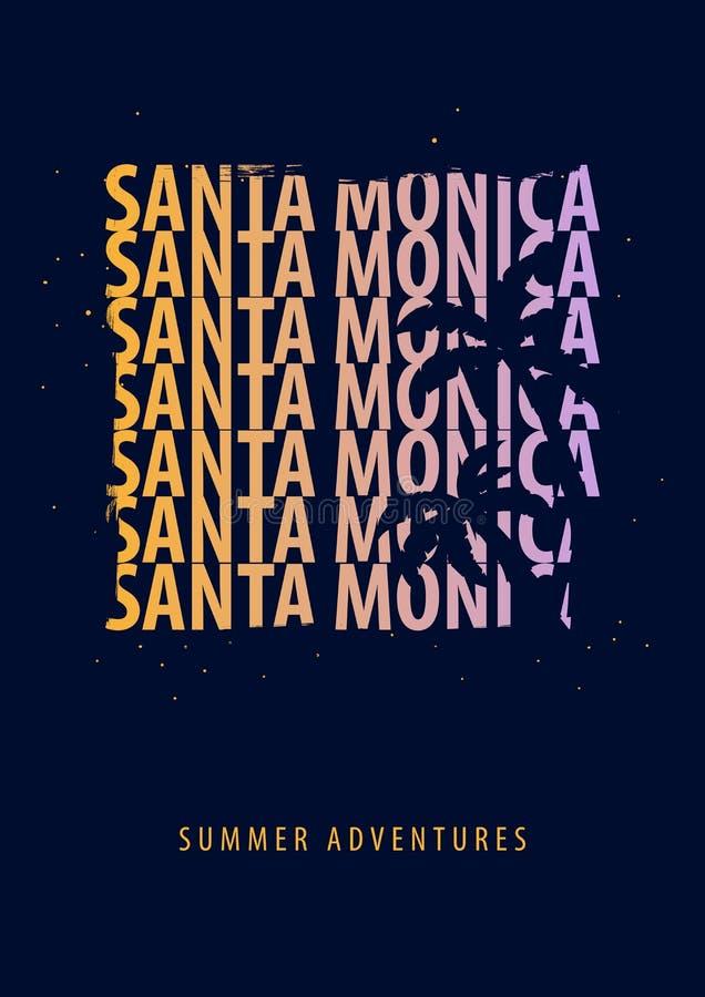 Καλοκαίρι της Σάντα Μόνικα γραφικό με τους φοίνικες Σχέδιο και τυπωμένη ύλη μπλουζών ελεύθερη απεικόνιση δικαιώματος