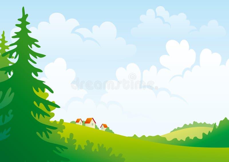 καλοκαίρι τοπίων ημέρας ελεύθερη απεικόνιση δικαιώματος