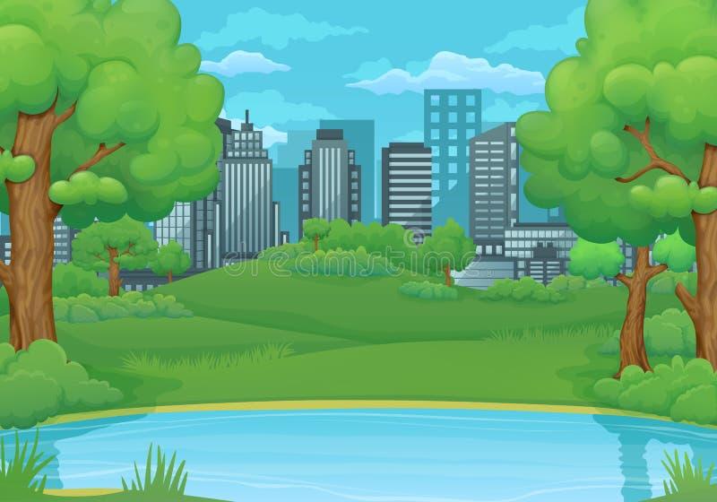 Καλοκαίρι, υπόβαθρο ημέρας άνοιξης Λίμνη ή ποταμός με τα πολύβλαστους πράσινους δέντρα και τους Μπους Πράσινες λιβάδια και πόλη σ ελεύθερη απεικόνιση δικαιώματος