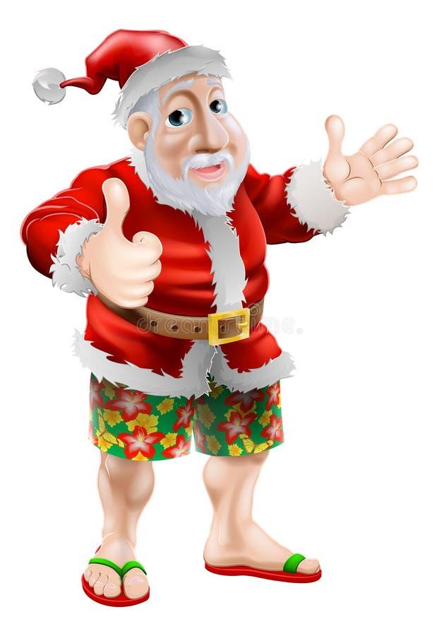 Καλοκαίρι Santa παραλιών διανυσματική απεικόνιση