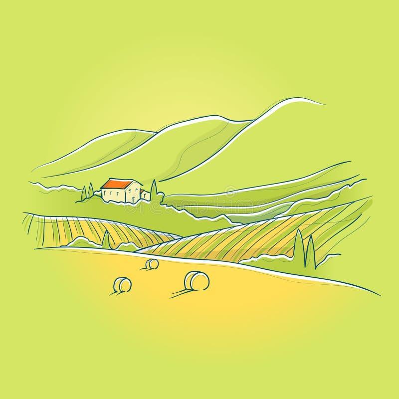 καλοκαίρι tuscan τοπίων διανυσματική απεικόνιση