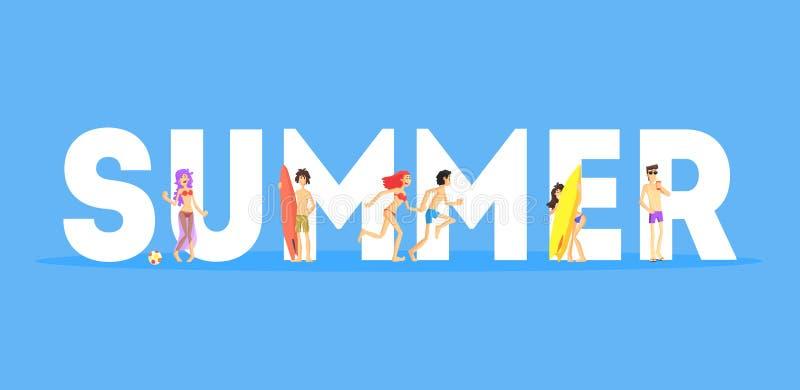 Καλοκαίρι Word και ευτυχείς άνθρωποι σε Beachwear που στέκονται κοντά στη διανυσματική απεικόνιση επιστολών διανυσματική απεικόνιση