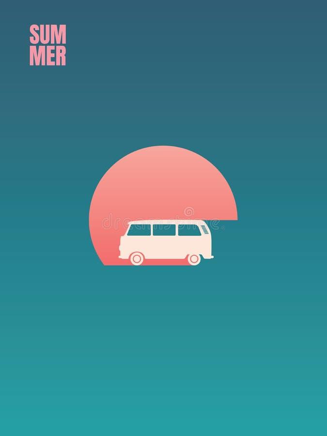 Καλοκαιρινές διακοπές, περιπέτεια οδικού ταξιδιού και διανυσματική έννοια ελεύθερου χρόνου Minivan ή campervan στο ηλιοβασίλεμα Τ διανυσματική απεικόνιση