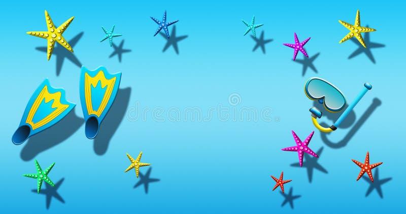Καλοκαιρινές διακοπές στην πισίνα με τη μάσκα, τα βατραχοπέδιλα και τον αστερία σκαφάνδρων που επιπλέει σε μια μπλε επιφάνεια νερ διανυσματική απεικόνιση