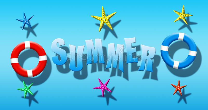 Καλοκαιρινές διακοπές στην πισίνα με τη μάσκα, τα βατραχοπέδιλα και τον αστερία σκαφάνδρων που επιπλέει σε μια μπλε επιφάνεια νερ ελεύθερη απεικόνιση δικαιώματος