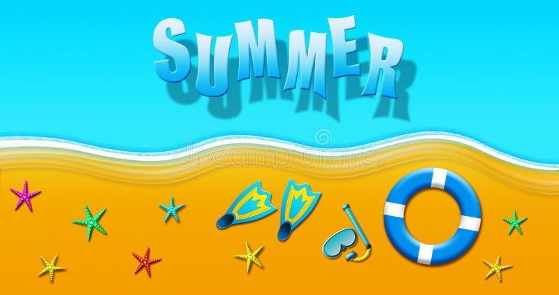 Καλοκαιρινές διακοπές στην τροπική αμμώδη παραλία με τη μάσκα σκαφάνδρων, τα βατραχοπέδιλα, τα δαχτυλίδια ασφάλειας και την απεικ απεικόνιση αποθεμάτων