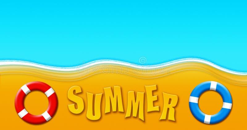 Καλοκαιρινές διακοπές στην τροπική αμμώδη παραλία με τη μάσκα σκαφάνδρων, τα βατραχοπέδιλα, τα δαχτυλίδια ασφάλειας και την απεικ ελεύθερη απεικόνιση δικαιώματος