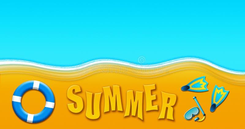Καλοκαιρινές διακοπές στην τροπική αμμώδη παραλία με τη μάσκα σκαφάνδρων, βατραχοπέδιλα, απεικόνιση δαχτυλιδιών ασφάλειας ελεύθερη απεικόνιση δικαιώματος