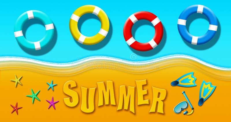 Καλοκαιρινές διακοπές στην τροπική αμμώδη παραλία με τη μάσκα σκαφάνδρων, τα βατραχοπέδιλα, τα δαχτυλίδια ασφάλειας και την απεικ διανυσματική απεικόνιση