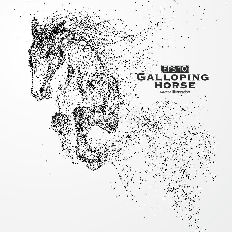 Καλπάζοντας άλογο, πολλή μόρια, σκίτσο, διανυσματική απεικόνιση, η ηθικές ανάπτυξη και η πρόοδος απεικόνιση αποθεμάτων