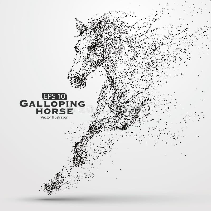 Καλπάζοντας άλογο, πολλή μόρια, σκίτσο, διανυσματική απεικόνιση, η ηθικές ανάπτυξη και η πρόοδος ελεύθερη απεικόνιση δικαιώματος
