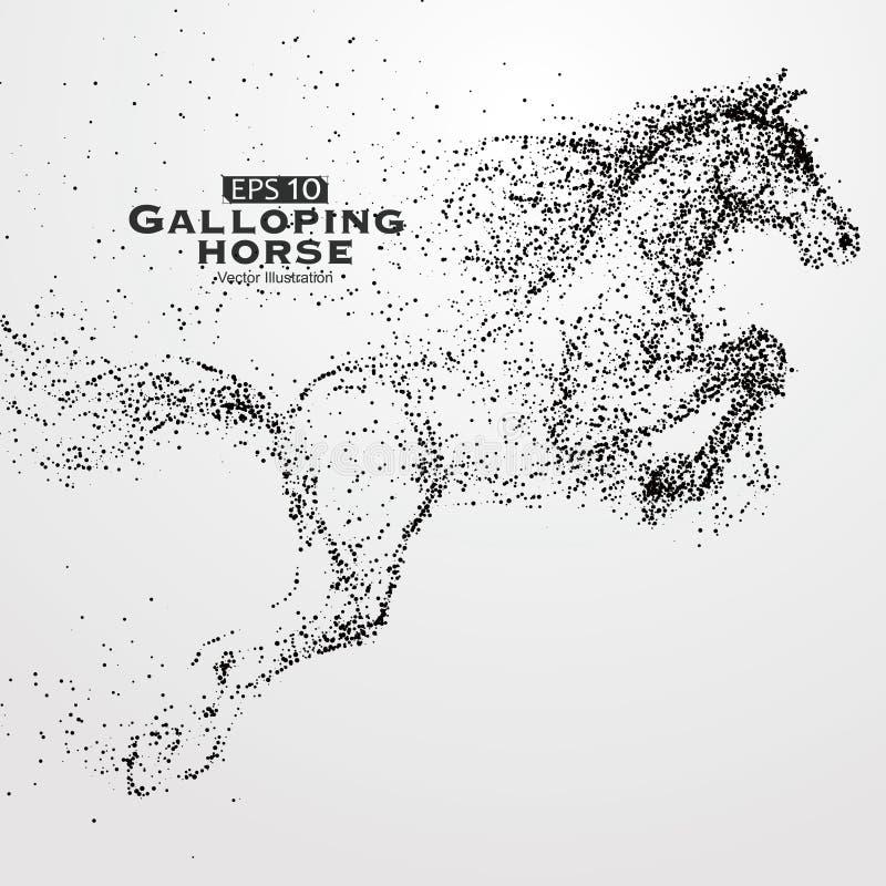Καλπάζοντας άλογο, πολλή μόρια, σκίτσο, διανυσματική απεικόνιση, η ηθικές ανάπτυξη και η πρόοδος διανυσματική απεικόνιση