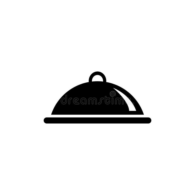 Καλυμμένα τρόφιμα, επίπεδο διανυσματικό εικονίδιο δίσκων γεύματος διανυσματική απεικόνιση
