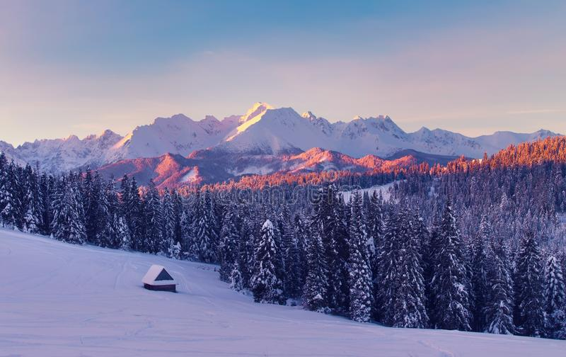 καλυμμένα όρη σπιτιών ελβετικά χειμερινά δάση χιονιού σκηνής μικρά Καταπληκτικό χειμερινό τοπίο βουνών στοκ φωτογραφία με δικαίωμα ελεύθερης χρήσης