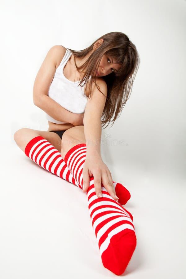 καλυμμένες γόνατο κάλτσ&epsil στοκ φωτογραφία