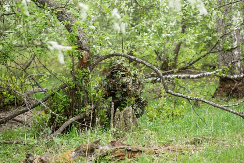 Καλυμμένος ελεύθερος σκοπευτής στο δάσος στοκ εικόνες