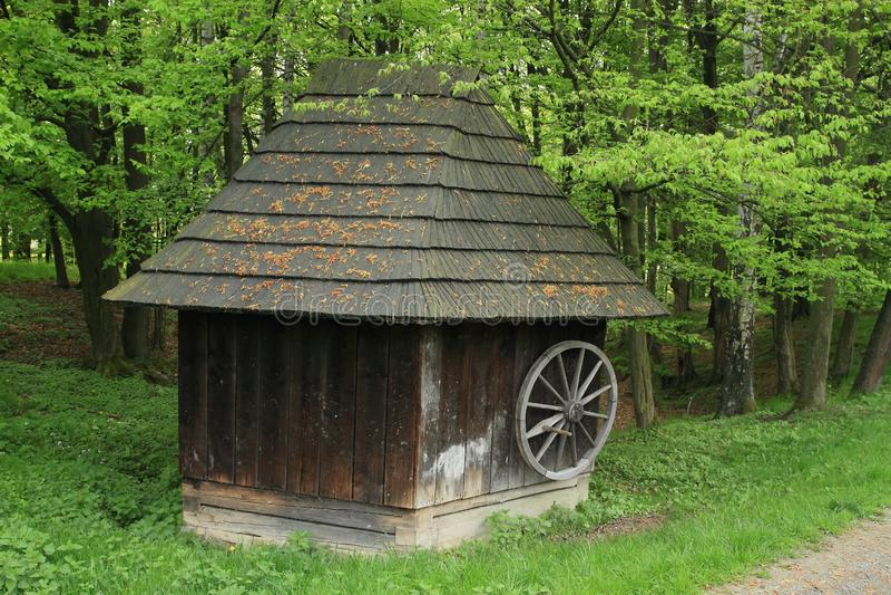 Καλυμμένος ξύλινος κατοικεί από το δάσος στοκ φωτογραφίες