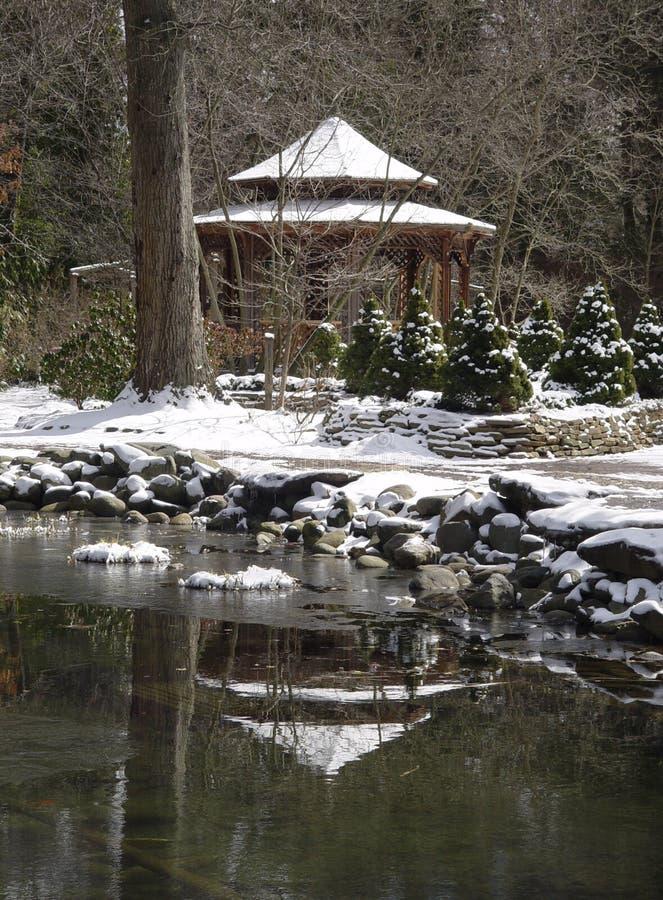 καλυμμένο χιόνι Gazeebo Στοκ Φωτογραφίες