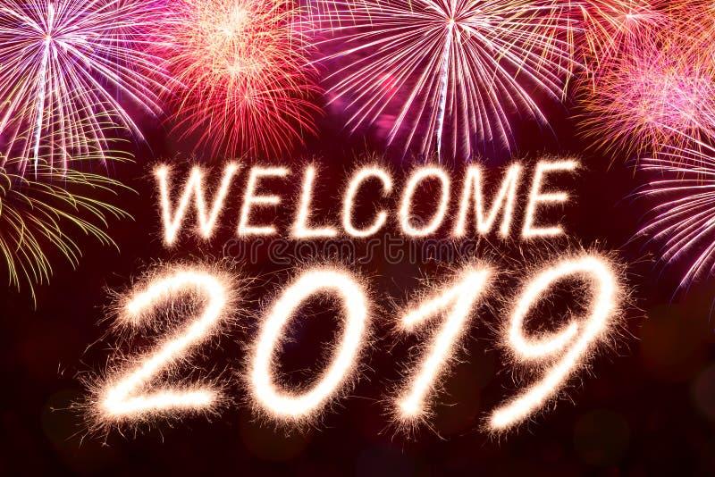 Καλωσορίστε έως 2019 στοκ εικόνα