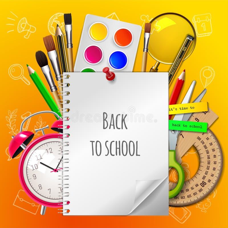 Καλωσορίστε πίσω στο σχολείο με τις προμήθειες στο κίτρινο υπόβαθρο, διανυσματική απεικόνιση στοκ εικόνες
