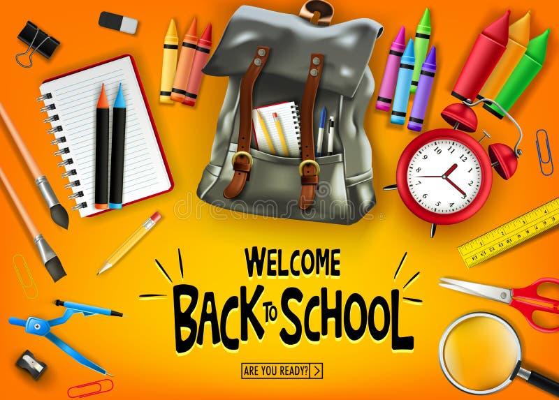 Καλωσορίστε πίσω στο σχολείο στο πορτοκαλί έμβλημα υποβάθρου με τις μαύρες προμήθειες σακιδίων πλάτης και σχολείου απεικόνιση αποθεμάτων