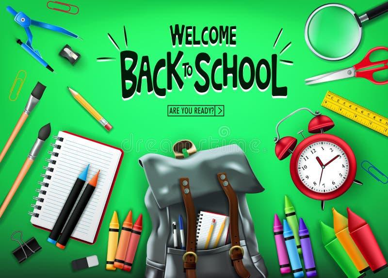 Καλωσορίστε πίσω στο σχολείο στο πράσινο έμβλημα υποβάθρου με τις μαύρες προμήθειες σακιδίων πλάτης και σχολείου απεικόνιση αποθεμάτων